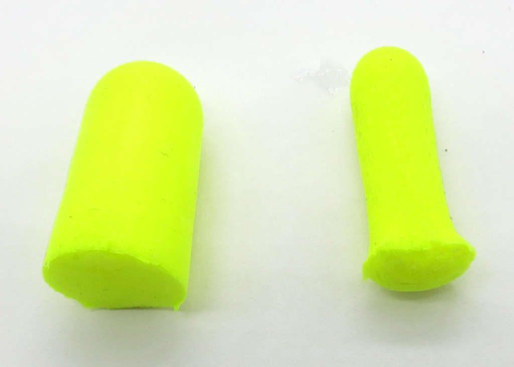 Foam earplugs rolled with Oto Ease