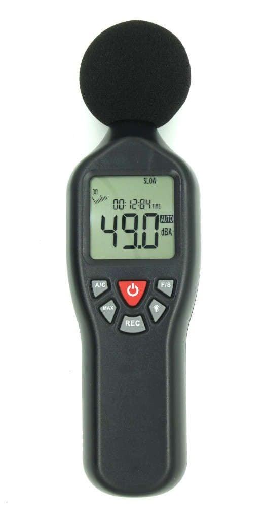 Sound level meter set to dBA, slow response.