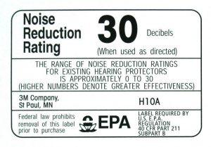 NRR Earmuffs noise reduction label