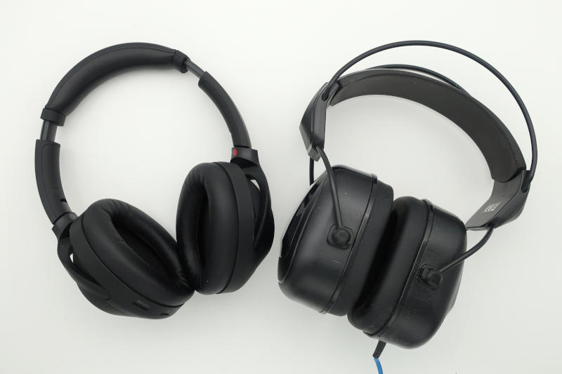 Sony WH-1000XM4 ANC headphones and Alesis DRP 100 noise isolating